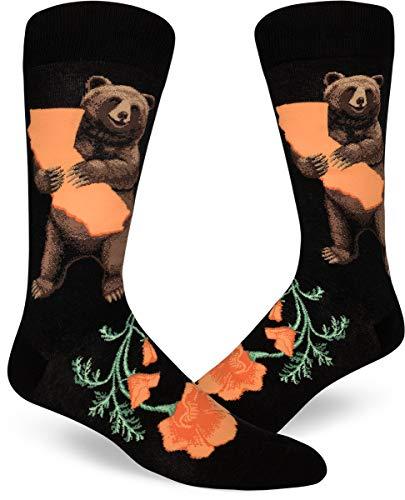 ModSocks Men's California Bear Hug Crew Socks in Black (Fits Most Men Shoe Size 8-13) ()