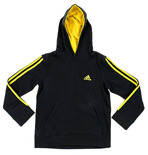 Adidas Embroidered Pullover (Adidas Big Boys Youth Game Time Pullover Fleece Hoodie, Black Br Yellow)