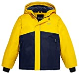 quilted ear warmers - Wantdo Boy's Waterproof Quilted Ski Jacket Cotton Padded Coat Hooded Rainwear(Yellow+Dark Blue, 10/12)