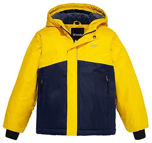 4da6e176b Wantdo Boy s Waterproof Quilted Ski Jacket Cotton Padded Coat Hooded  Rainwear(Yellow+Dark Blue
