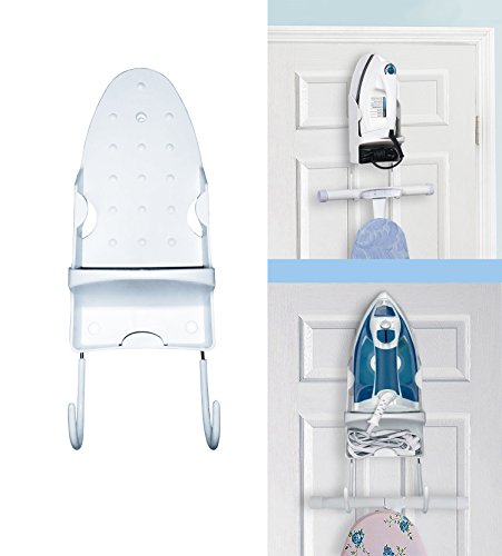 Door Iron Holder with hook for Ironing Board With Cord Holder Non Burn Surface Great Space saver! by Decor Hut