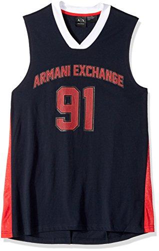 A|X Armani Exchange Men's 91 Musle Jersey Style Tank, Navy, - Exchange Style Armani