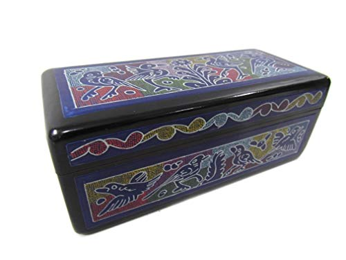 El Relicario de Los Tesoros Olinala Hand Carved/Incised Small Rectangular Lacquerware Wooden Jewelry Trinket Stash Box Crafted in Mexico (Blue-Floral Garden)