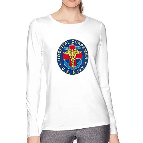 MKLDWA Womens US Navy Hospital Corpsman Long Sleeve Shirt Cotton Round Neck Casual Loose Tee