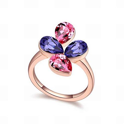 Ring Swarovski Flowers - HOX Swarovski Elements Crystal Rings for Bohemian Sweet Flowers Ring Rings Alloy Swarovski Elements Crystal Alloy Platinum Plated White Gold, Rose gold