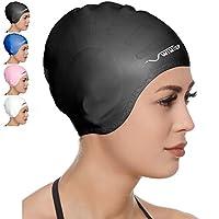 Premium Silicone Swim Cap for Long Hair Swim Cap for Men and Women + Free Nose Clip (Black)