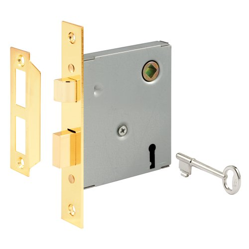 "Prime-Line E 2294 Vintage Style Indoor Mortise Lock Assembly Kit - Cast Steel Construction, Brass Plated Finish, Antique Skeleton Key - Backset, 1/4"" Max Square Spindle - Reversible Latch Bolt"
