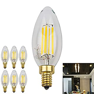 5W 700LM Dimmable LED Candelabra Bulb 4000K Neutral White, 50W Equivalent E12 Base Filament LED Candle Bulbs, B11 Clear Glass Torpedo Shape Bullet Top, 360 Degrees Beam Angle (Neutral White, 6 Pack)