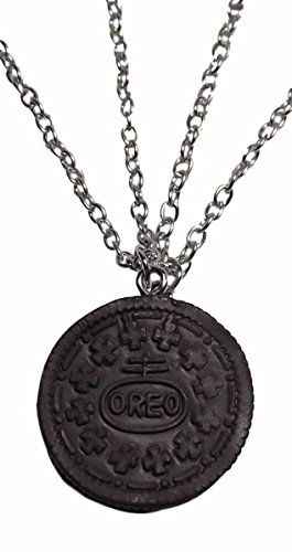 Oreo Cookie 2 Piece Cut out Heart Center BFF Pendant Necklace Set