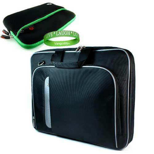Apple MacBook Air MC234LL/A 13.3-Inch Laptop Carrying Case with Shoulder Strap & Organization Pockets + 13.3 Black Labtop gloove w/Green Trim & Extra Pocket!+VG *LIVE*LAUGH*LOVE* Wrist Band