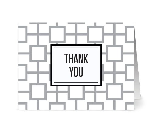 Geo Tile 'Thank You' Smoke - 36 Thank You Note Cards - Blank Cards - Gray Envelopes Included