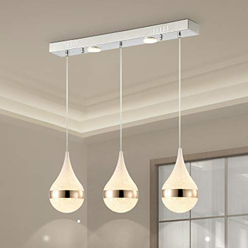 BYJUM Adjustable Ceiling Straight Row LED Disc Chandelier with 3 Lights Warm White,Filadritta,3Heads