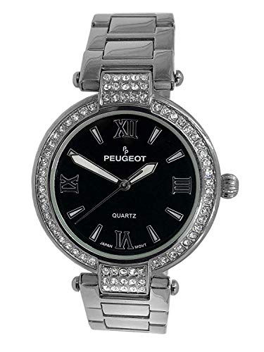 Peugeot Women's 7084TTG Crystal-Accented Stainless Steel Watch with Link Bracelet