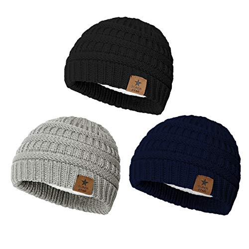 Durio Fleece Lined Soft Baby Boys Girls Infant Toddler Warm Thick Winter Hats Baby Beanies Babies Caps for 0-2 Years 3 Pack Black & Light Grey & Navy