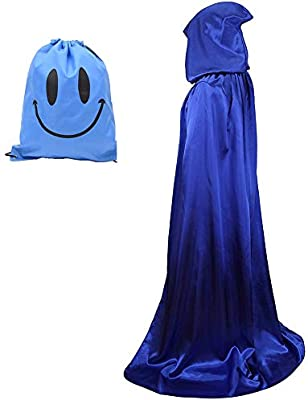 Largo Capa con Capucha, Unisex Adulto Disfraz de Halloween Fiesta Disfraces Vampiro Traje (M, Azul)
