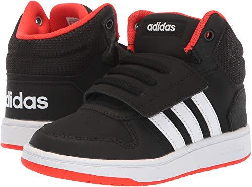 adidas Baby Hoops 2.0 Basketball Shoe, Black/White/red, 9.5K M US Toddler