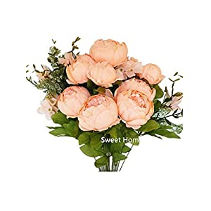 Sweet Home Deco 18'' Super Soft Blooming Peony Silk Artificial Wedding Bouquet Home Flowers (Peach) 40