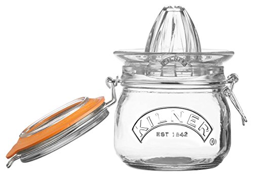Kilner Glassware 2-Piece Juicer Jar Set, Make, Store and Serve Fresh Citrus Juice, Airtight Clip-top Lid, 17-Fluid Ounces (Manual Orange Juicer Glass)