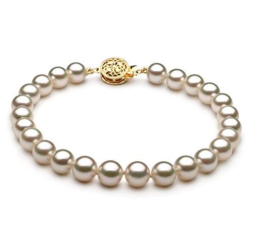Blanc 6.5-7mm AAA-qualité Akoya du Japon 585/1000 Or Jaune-Bracelet de perles