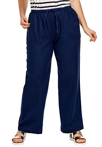 Ellos Women's Plus Size Linen Blend Drawstring Pants - Navy, -