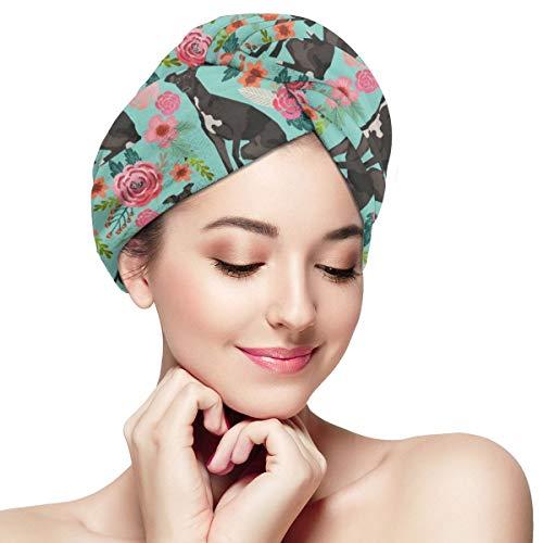 - Hair Towel Wrap Turban Microfiber Drying Bath Shower Head Towel with Buttons, Quick Magic Dryer, Dry Hair Hat, Wrapped Bath Cap Italian Greyhound