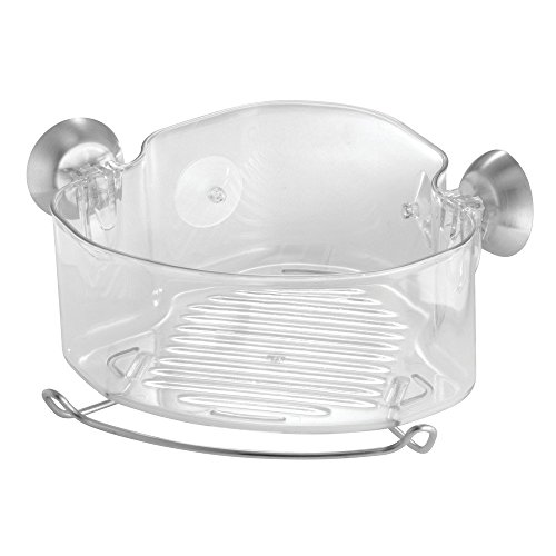 InterDesign Forma Power Lock, Suction Bathroom Shower Caddy Corner Basket for Shampoo, Conditioner, Soap - Clear (Soap Shower Bathroom)
