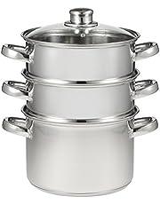 Kitchensmart KSM0003 Kitchensmart 3 Tier Steamer with Glass Lid, Stainless Steel