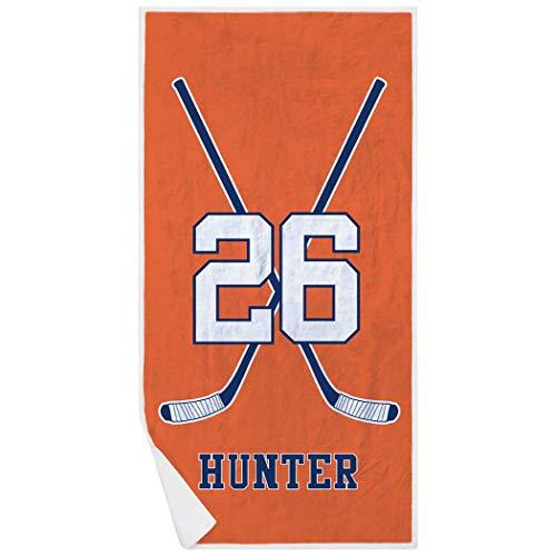 ChalkTalkSPORTS Personalized Hockey Premium Beach Towel   Player Crossed Sticks   Orange-Navy