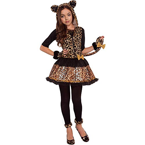 Girls Wild Cat Costumes Leopard Print Costumes with Glovelettes,Tights,Tail (L(12-14years)) -