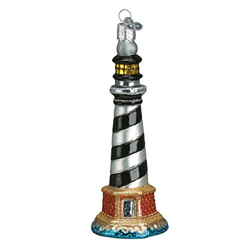 Old World Christmas Ornaments: Cape Hatteras Lighthouse Glass Blown Ornaments for Christmas Tree