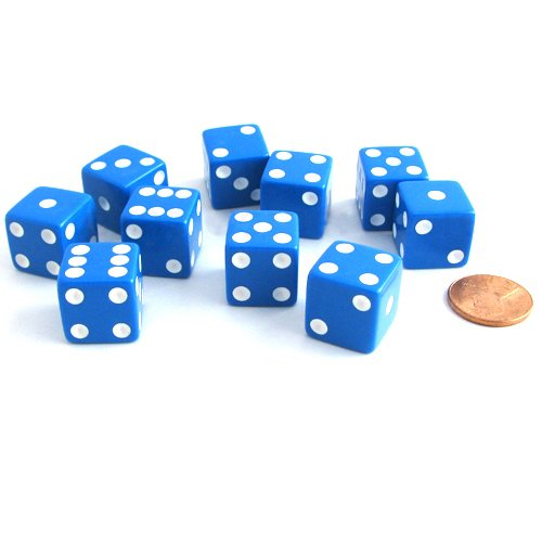 Set of 10 Six Sided D6 16mm Standard Dice Blue by Koplow Games