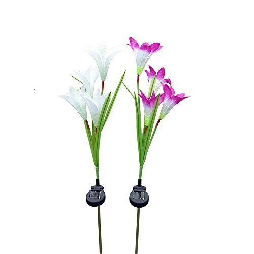 YJYdada 2 Pcs Lily Flower Solar Powered Garden Stake Lights Artificial Flowers LED Light (White,Purple)