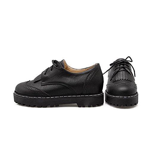 AgooLar Damen Niedriger Absatz Weiches Material Rein Rund Zehe Schnüren Pumps Schuhe Schwarz