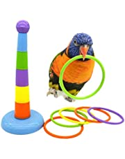 Keersi Small Medium Parrot Intelligence Training Rings Toy Bird Parakeet Cockatiel Conure Lovebird Finch Canary Budgie Macaw African Grey Cockatoo Amazon Cage