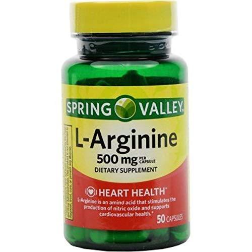Spring Valley: 50 Capsules 500 Mg Ea. L-Arginine