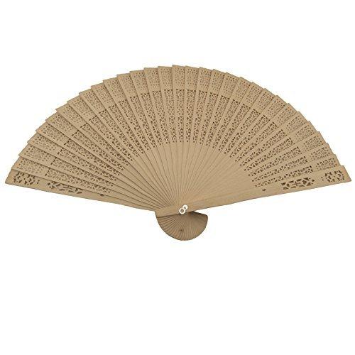 Akfal 48 pcs Summer Vintage Folding Bamboo Wooden Carved Hand Fan Wedding Bridal (Bamboo Carved Wood Fan)