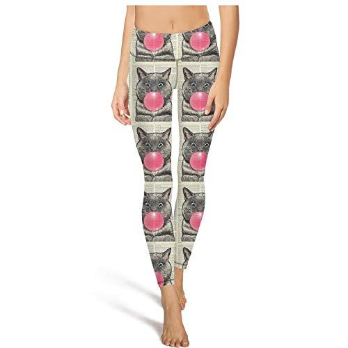 Bubble Gum Camo - CCBING Bubblegum CAT Dictionary Art Yoga Pants Gym Running Leggings for Women