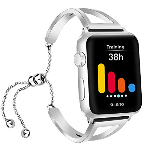 iGK Compatible with Apple Watch Band 38mm 40mm 42mm 44mm, Jewelry Bangle Cuff Adjustable Stainless Steel Replacement Band for iWatch Apple Watch Series 4/3/2/1 for Women Girl with Pendant & Tassel