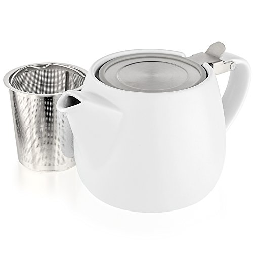 Tealyra - Pluto Porcelain Small Teapot White - 18.2-ounce (1-2 cups) - Matte Finish - Stainless Steel Lid and Extra-Fine Infuser To Brew Loose Leaf Tea - - White Teapot Lid