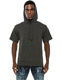 Men's Short Sleeve Plain Cotton Midweight Hoodie Shirts
