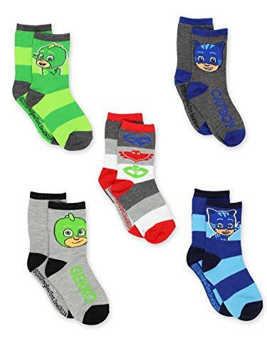 PJ Masks 5 pack Boys Toddler Crew Sock Set (4-6 Toddler (Shoe: 7-10), Grey/Multi Crew)