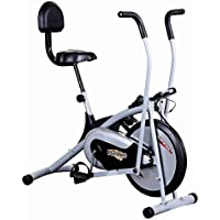 Healthex Exercise Cycle for Weight Loss at Home with Back Support || Air Bike Platinum DX with Moving Handle for Home Use