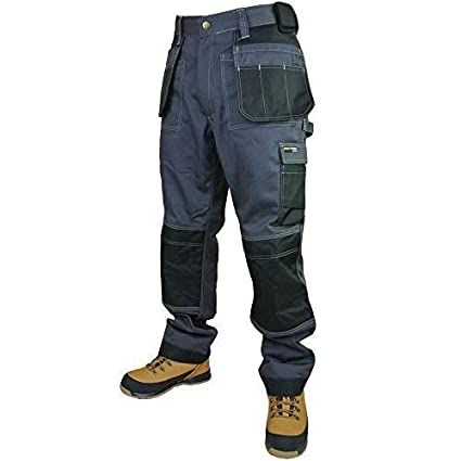 Army And Workwear Mens Work Trouser Grey//Black Tuff Multi//Knee Pocket Pro Pants Triple Stitch Free Knee Pads