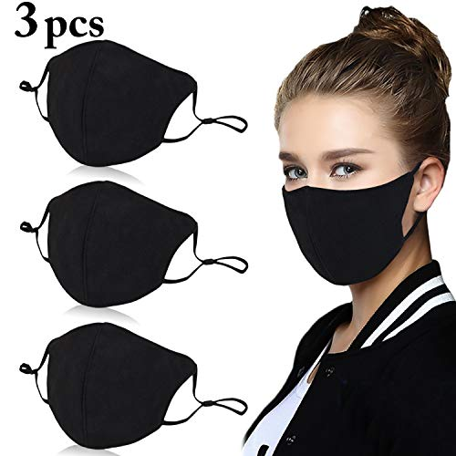 Aniwon 3 Pack Unisex Mouth Mask Adjustable Anti Dust Face Mouth Mask,Black Cotton Face Mask for Cycling Camping Travel -