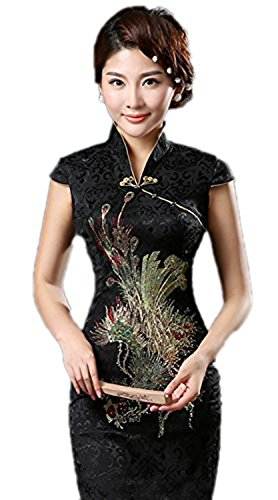 Merryfun Womens Cheongsam Dress Retro Phoenix Printing Brocade Gown (M, black)