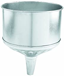 Lumax LX-1708 Silver 8 Quart Galvanized Funnel with Removable Stainless Steel Screen