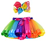 EachEver Layered Ballet Tulle Rainbow Tutu Skirt Little Girls Dress up Colorful Hair Bows Color 1 4-8 Years