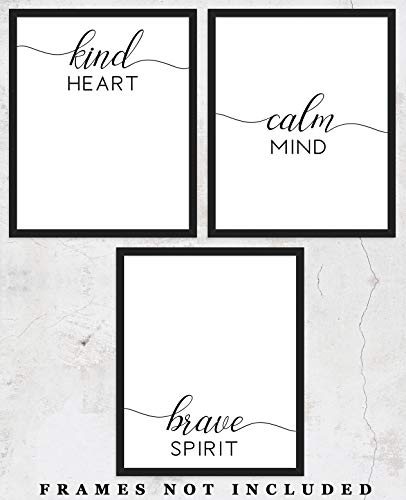 (Kind Heart Calm Mind Brave Spirit Typography Wall Art Prints: Unique Bedroom Decor - Set of Three (8x10) Unframed Pictures - Great Gift Idea)