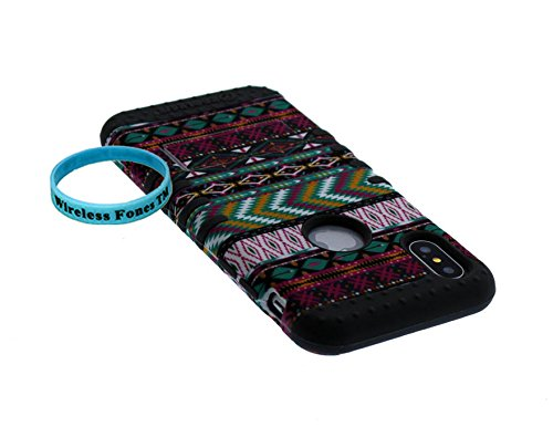 iPhone X Case, Wireless Fones TM Wristband Included Tribal Aztec Chevron Heart Anchor Flower Hybrid Shockproof Impact Kickstand Cover Over Skin for iphone X (new aztec/gray)