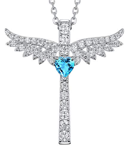 - Re Besta December Birthstone Sky Blue Topaz Jewelry Gifts for Women Angel Wing Cross Necklace Birthday for Her for Wife Girlfriend Grandma Sterling Silver 18